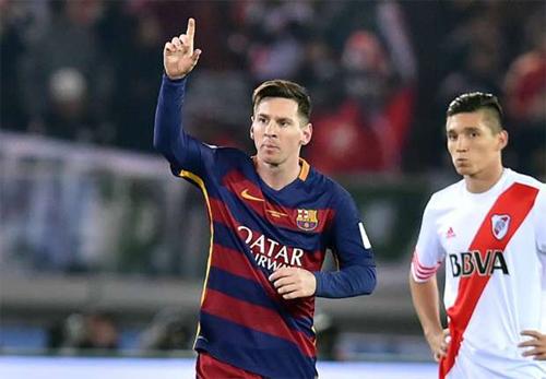 Messi ghi bàn mở tỷ số trong trận chung kết FIFA Club World Cup. Ảnh: Reuters