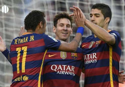 Bộ ba tiền đạo của Barca đang gây ấn tượng mạnh khắp thế giới. Ảnh: Reuters